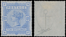 1884, Queen Victoria, 10s ultramarine, printed on bluish paper, watermark Anchor, very well centered and post office fresh
