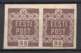 1919 35P Estonia (OFFSET, Print Error, Pair, MNH)
