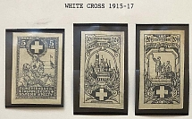 Donations to the White Cross (1915-1917), three stamps. Great quality. Ex - E.
