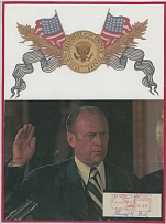 AUTOGRAPHS OF FAMOUS PEOPLE FROM FRANK M. RUDON COLLECTION - U.S. POLITICIANS AUTOGRAPHS - BALANCE 1966-75, 36 autographs on letterheads or metered postage labels of the United States Presidents - Gerald Ford and Joe Biden