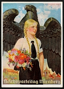 1937 Reich party rally of the NSDAP in Nuremberg, Eagle and BdM Girl with Bouquet, RARE card