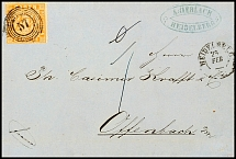 6 kreuzer pale yellow orange with number postmark