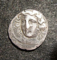 Greek Larissa Drachm ancient coin nymph head/horse & foal, S-2122; F+/AVF