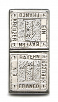 1849 Bavaria 1 Kr (Sterling Silver Miniature, Greatest Stamps of The World)