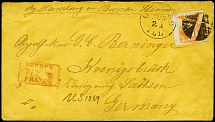 "1870, Shield and Eagle 10 c. orange tied by cork cancel to cover from ""CHICAGO"