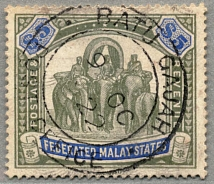 1908, $ 5, green and blue, used BATU CAJAH, wmk multi crown CA, very well