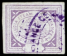 1872, First printing, Steamer 6 pence lilac (transfer type 1), fresh colour and
