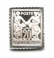 1876-78 France 20 C (Sterling Silver Miniature, Greatest Stamps of The World)