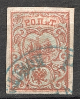 1866 Russia Levant ROPiT 10 Para (With Shadow Lines, Round Cancellation)