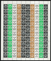 1940 Third Reich, Germany (Full Sheet, CV $200, MNH)