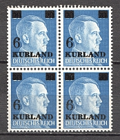 1945 Germany Occupation of Kurland Block of Four (Broken `6`, CV $190, MNH)