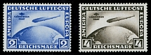 Germany 1930, Zeppelin Flight to South America, 2m ultra and 4m brown, NH