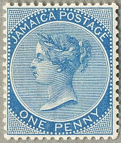 1870-83, 1 d., blue, wmk Crown CC, perf. 14, MH, fresh and almost perfectly cent