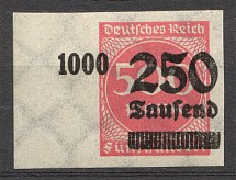 1923 Germany 250.000 Mark (Imperf Shifted Overprint, Signed, CV $210, MNH)