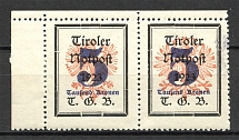 1921 Tyrol Austria Local Post Pair (Different Size of Eagle, MNH)