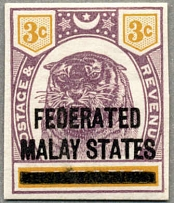 1900, 3 c. in dull purple and yellow, on PAHANG with black opt FEDERATED MALAY