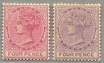 1876-84, 4 d., carmine/pale violet, (2), wmk CA, perf. 14, both LPOG, perfect co