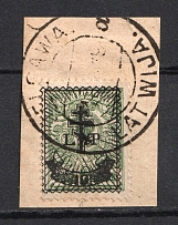 1919 10k on 2k Russia West Army, Russia Civil War (JELGAVA LATVIA Postmark)