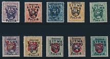 Central Lithuania, 1920, Coat of Arms, dark blue surcharges 2m/15sk - 10m/5sk