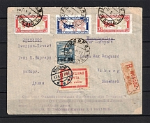 1927 Registered Airmail Envelope, Combined Delivery Franking to Denmark