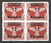 1945 Occupation of Kurland Block of Four `12` (Straight `2`, CV $120, MNH)