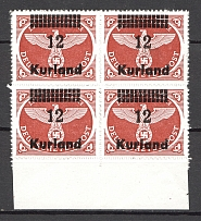 1945 Germany Occupation of Kurland Block of Four `12` (CV $80, MNH)