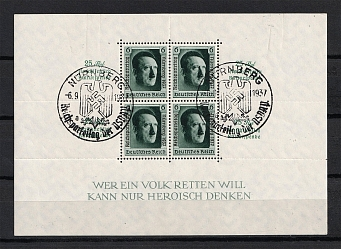 1937 Third Reich, Germany (Souvenir Sheet Mi. 11, Special Commemorative Cancellation NURNBERG, CV $80)
