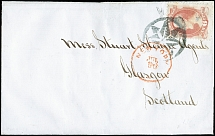 1873, Lincoln 6 c. carmine, tied by New York Foreign Mail Star cancel to letter