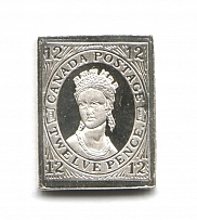 1851 Canada 12 P (Sterling Silver Miniature, Greatest Stamps of The World)