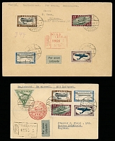 Latvia 1933-36, Airplanes and Graf Zeppelin, 2 flown registered covers from Riga