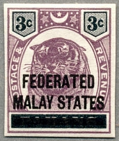 1900, 3 c., dull purple & black, on PAHANG with black opt FEDERATED MALAY