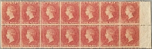 1861, 1 d., rose-red, block of (14), positions 34-40/44-50, THE LARGEST RECORDED