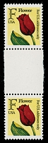 1990-91, Flower, rate ''F'' (29c) multicolored, perforated proof in vertical gutter pair, lightly folded between top stamp and gutter, full OG