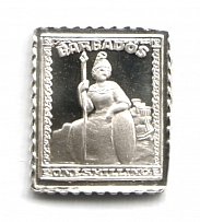 1861 Barbados 1 Sh (Sterling Silver Miniature, Greatest Stamps of The World)