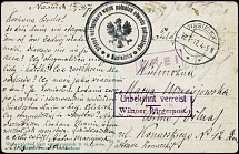 "Town Mail Wilna: 1917, field postcard from ""NASIELSK 12.1."" with Polish field"