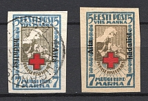 1923 5M Estonia (Normal+Inverted Overprint, Canceled/MH)