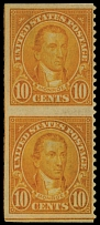 United States, 1923, Monroe, 10c orange, vertical pair imperf. horizontally