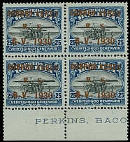 Bolivia 1930, Zeppelin issue, bronze ink surcharge 5c on 25c, block of 4