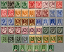 1912-23, 1 c. - 5 $., superb overcomplete set of (51), wmk Crown CA, extensive
