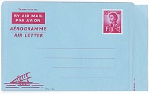 Fiji 1962 10d red on blue Air Letter (Native pirogue lower left) H&G12 fine unus