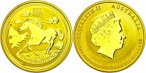 100 Dollars, Gold, 2014, Jahr der Pferdes, 1 Oz, st.100 Dollars, Gold, 2014, year the horse, 1
