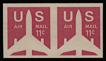 AIR POST STAMPS: 1971, Silhouette of Airliner, 11c carmine, horizontal imperforated pair of coil stamps, full OG, NH