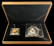 PRC 2004, Commercial Bank of China, Panda, 10y (1oz silver) and 100y (¼ oz gold)