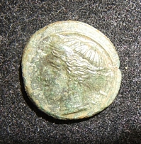 Ancient Greek Sicilian Himera AE 17 Hemilitron coin 420-408 BCE, S-1110, VF/EF