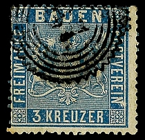 3 kreuzer vivid prussian-blue, cancelled extremely fine copy, Michel 90.-