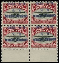 Bolivia 1930, Zeppelin issue, inverted violet overprint on 15c carmine and black