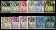 ASCENSION: 1924-33, King George V and Badge of St. Helena (Sailing Ship), ½p-3s, complete set of 12, full OG, LH or previously hinged