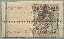 1920, 10 c. on 20 c., green, DOUBLE OVERPRINT (!), one inverted offset which can