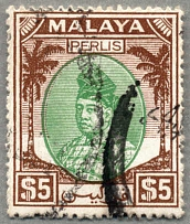 1951, 5 $, green and brown, cancelled, P 17 1/2x18, VF!. Estimate 165€.