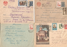 1952 - 1959 years Soviet Union. Lot of 7 mailpieces (envelopes). Airmail. The ge